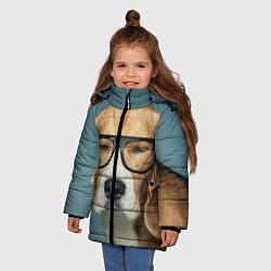 Куртка зимняя для девочки Бигль в очках цвета 3D-черный — фото 2