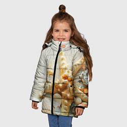 Куртка зимняя для девочки Морские ракушки цвета 3D-черный — фото 2