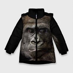 Детская зимняя куртка для девочки с принтом Глаза гориллы, цвет: 3D-черный, артикул: 10105697906065 — фото 1