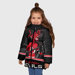 Куртка зимняя для девочки New Jersey Devils цвета 3D-черный — фото 2