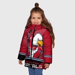 Детская зимняя куртка для девочки с принтом Washington Capitals, цвет: 3D-черный, артикул: 10106983706065 — фото 2