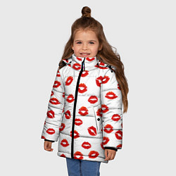 Куртка зимняя для девочки Поцелуйчики цвета 3D-черный — фото 2