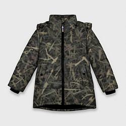 Куртка зимняя для девочки Камуфляж с холодным оружием цвета 3D-черный — фото 1