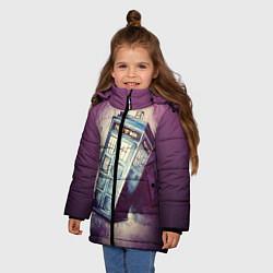 Куртка зимняя для девочки Перемещение во времени цвета 3D-черный — фото 2