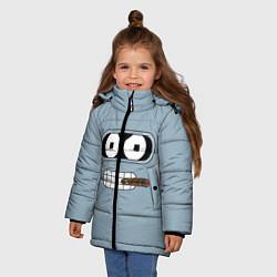 Куртка зимняя для девочки Лицо Бендера цвета 3D-черный — фото 2