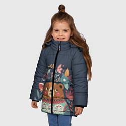 Куртка зимняя для девочки Осенний медведь цвета 3D-черный — фото 2
