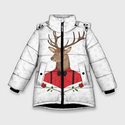 Куртка зимняя для девочки Christmas Deer цвета 3D-черный — фото 1