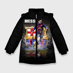Детская зимняя куртка для девочки с принтом Messi FCB, цвет: 3D-черный, артикул: 10112080706065 — фото 1