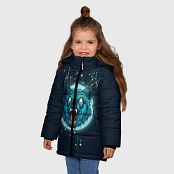 Куртка зимняя для девочки Космический медведь цвета 3D-черный — фото 2