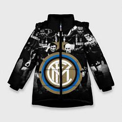 Детская зимняя куртка для девочки с принтом Интер ФК, цвет: 3D-черный, артикул: 10113557306065 — фото 1
