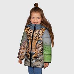 Куртка зимняя для девочки Грустный леопард цвета 3D-черный — фото 2