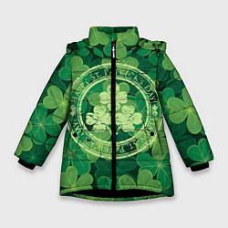 Куртка зимняя для девочки Ireland, Happy St. Patricks Day цвета 3D-черный — фото 1