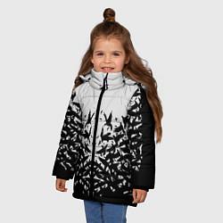 Куртка зимняя для девочки Птичий вихрь цвета 3D-черный — фото 2