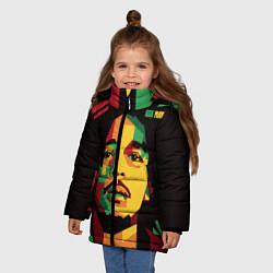 Куртка зимняя для девочки Боб Марли цвета 3D-черный — фото 2