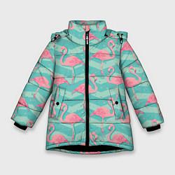 Куртка зимняя для девочки Flamingo Pattern цвета 3D-черный — фото 1