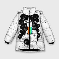 Куртка зимняя для девочки Единорог астронавт цвета 3D-черный — фото 1