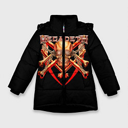 Детская зимняя куртка для девочки с принтом Megadeth: Gold Skull, цвет: 3D-черный, артикул: 10118375606065 — фото 1