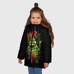 Детская зимняя куртка для девочки с принтом Slayer Slimer, цвет: 3D-черный, артикул: 10119944306065 — фото 2