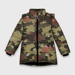 Куртка зимняя для девочки Камуфляж: коричневый/хаки цвета 3D-черный — фото 1