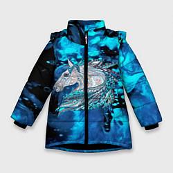 Куртка зимняя для девочки Сказочная лошадь цвета 3D-черный — фото 1