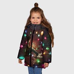 Куртка зимняя для девочки Парень с лампочками цвета 3D-черный — фото 2