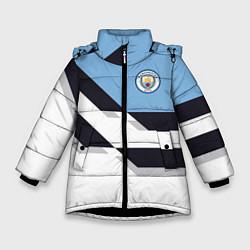 Куртка зимняя для девочки Manchester City FC: White style цвета 3D-черный — фото 1