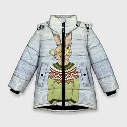 Куртка зимняя для девочки Кролик хипстер цвета 3D-черный — фото 1