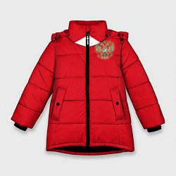 Куртка зимняя для девочки Сборная России: ЧМ 2018 цвета 3D-черный — фото 1