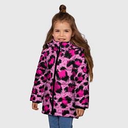 Куртка зимняя для девочки Розовый леопард цвета 3D-черный — фото 2