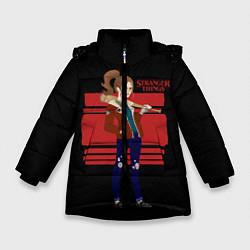 Куртка зимняя для девочки Очень странные дела цвета 3D-черный — фото 1