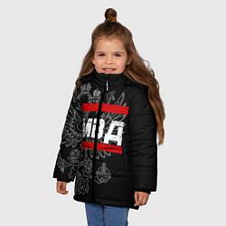 Куртка зимняя для девочки МВД: герб РФ цвета 3D-черный — фото 2