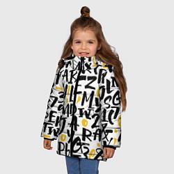Детская зимняя куртка для девочки с принтом Letters bombing, цвет: 3D-черный, артикул: 10142799106065 — фото 2