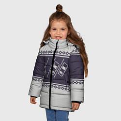 Куртка зимняя для девочки Форсаж: Зимний узор цвета 3D-черный — фото 2