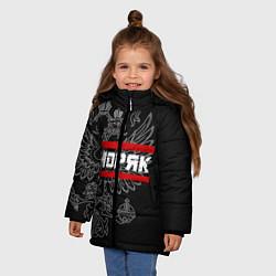 Куртка зимняя для девочки Моряк: герб РФ цвета 3D-черный — фото 2