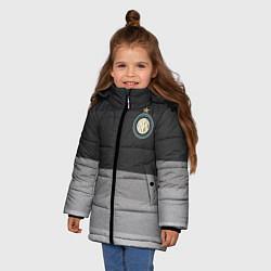 Детская зимняя куртка для девочки с принтом ФК Интер: Серый стиль, цвет: 3D-черный, артикул: 10148313906065 — фото 2