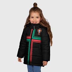 Куртка зимняя для девочки Сборная Португалии: Альтернатива ЧМ-2018 цвета 3D-черный — фото 2