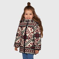 Куртка зимняя для девочки Славянский орнамент цвета 3D-черный — фото 2