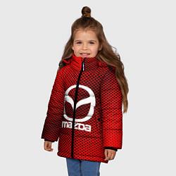 Детская зимняя куртка для девочки с принтом Mazda: Red Carbon, цвет: 3D-черный, артикул: 10150547906065 — фото 2