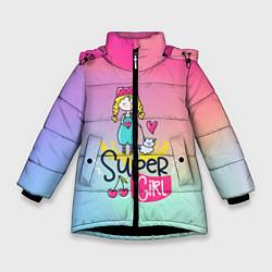Куртка зимняя для девочки SUPER GIRL цвета 3D-черный — фото 1