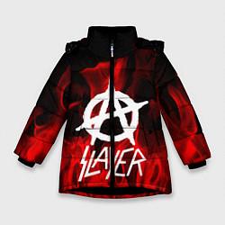 Детская зимняя куртка для девочки с принтом Slayer Flame, цвет: 3D-черный, артикул: 10151631306065 — фото 1