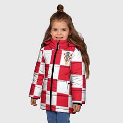 Куртка зимняя для девочки Сборная Хорватии: Домашняя ЧМ-2018 цвета 3D-черный — фото 2