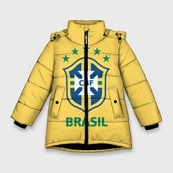 Детская зимняя куртка для девочки с принтом Brazil Team, цвет: 3D-черный, артикул: 10154256306065 — фото 1