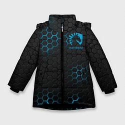 Детская зимняя куртка для девочки с принтом Team Liquid: Carbon Style, цвет: 3D-черный, артикул: 10154882906065 — фото 1