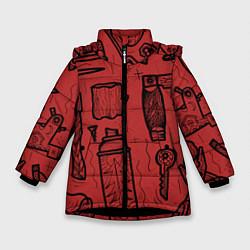 Детская зимняя куртка для девочки с принтом Инструменты мужика, цвет: 3D-черный, артикул: 10158125706065 — фото 1
