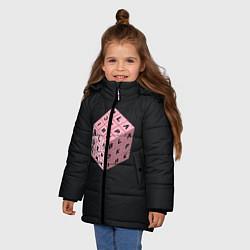 Куртка зимняя для девочки Black Pink Cube цвета 3D-черный — фото 2