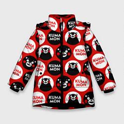 Детская зимняя куртка для девочки с принтом Kumamon Pattern, цвет: 3D-черный, артикул: 10162550706065 — фото 1