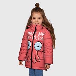 Куртка зимняя для девочки Trust Me I'm a Doctor цвета 3D-черный — фото 2