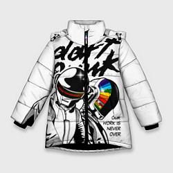 Детская зимняя куртка для девочки с принтом Daft Punk: Our work is never over, цвет: 3D-черный, артикул: 10171356906065 — фото 1