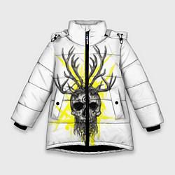Куртка зимняя для девочки True Detective: Skull цвета 3D-черный — фото 1