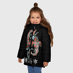 Детская зимняя куртка для девочки с принтом Иокогама, цвет: 3D-черный, артикул: 10173336306065 — фото 2